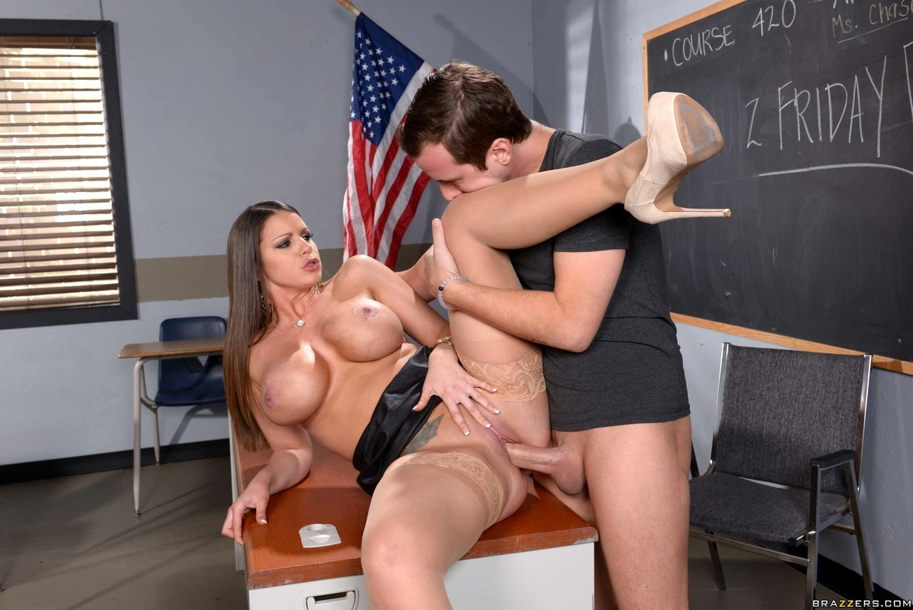 Hot school teacher gets fucked and cummed on by the principal