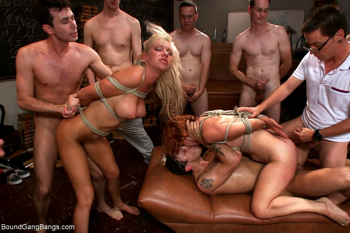 Boss with his friend gangbang anal pounding tied up blonde maid