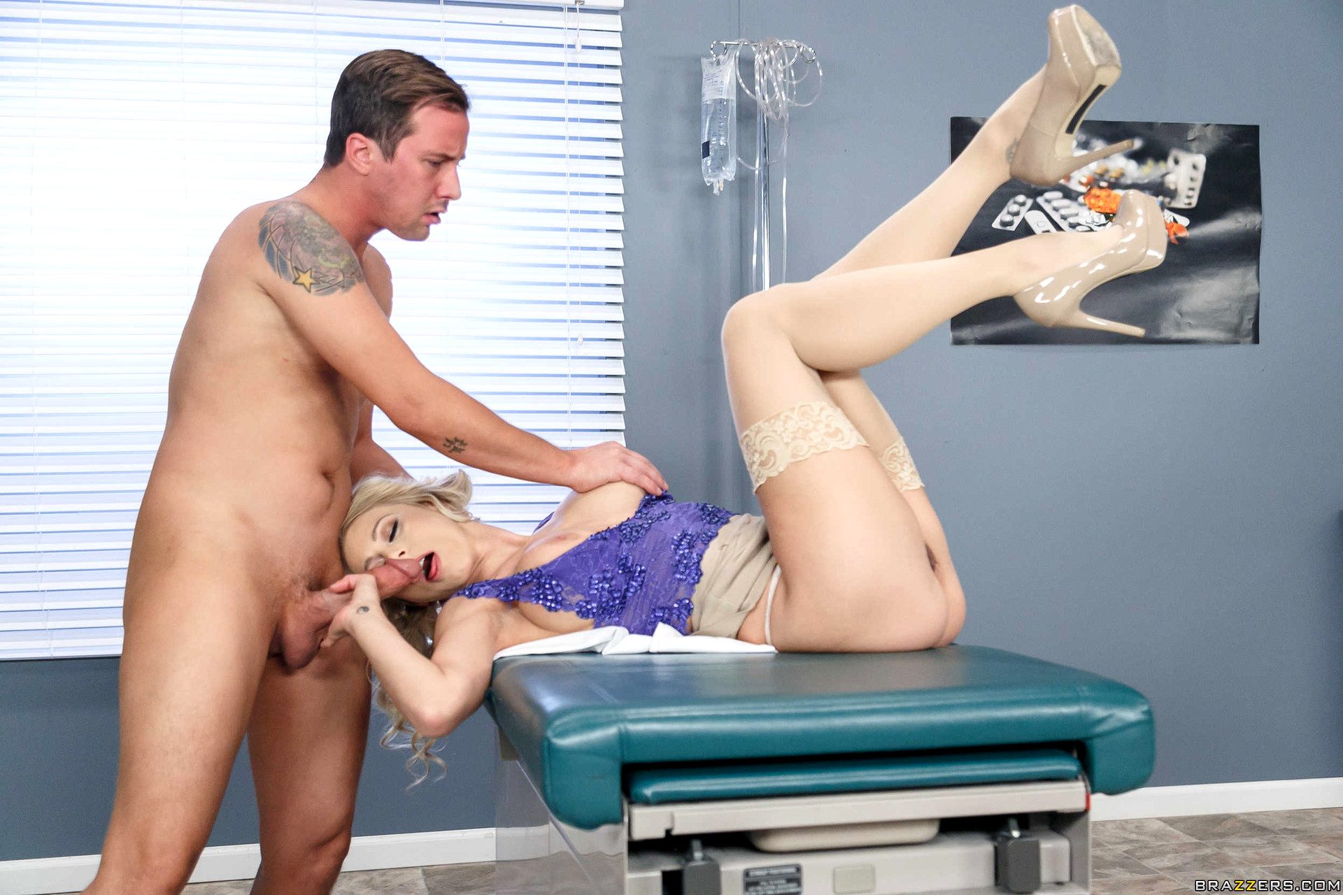 This busty mom gets fucked by her doctor as her husband is non the wisor