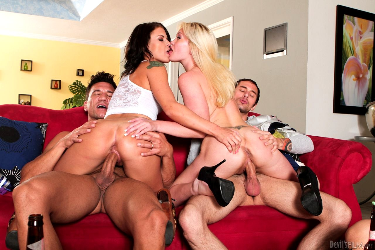 Hot and wild group sex with four big tits sluts