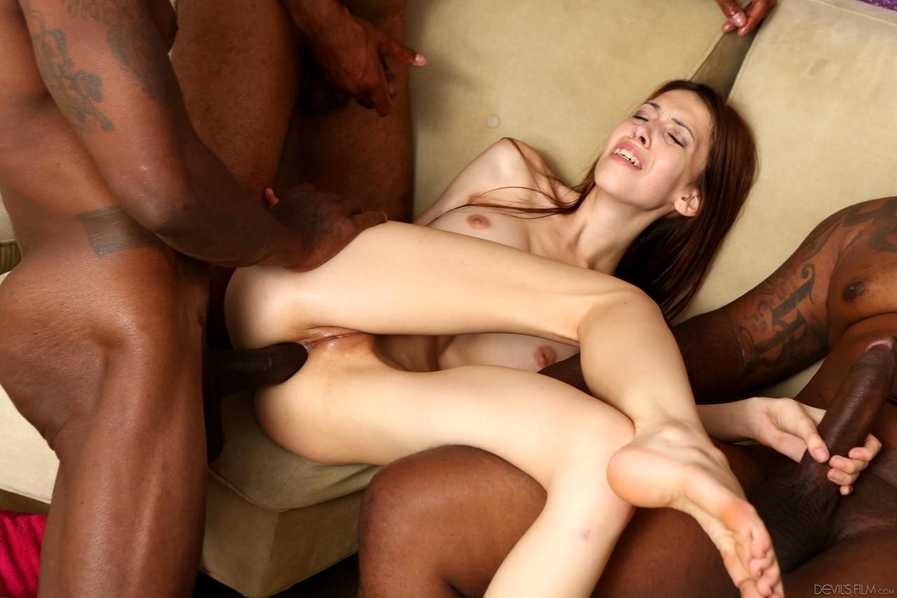 Skinny White Girl Loves Interracial Sex