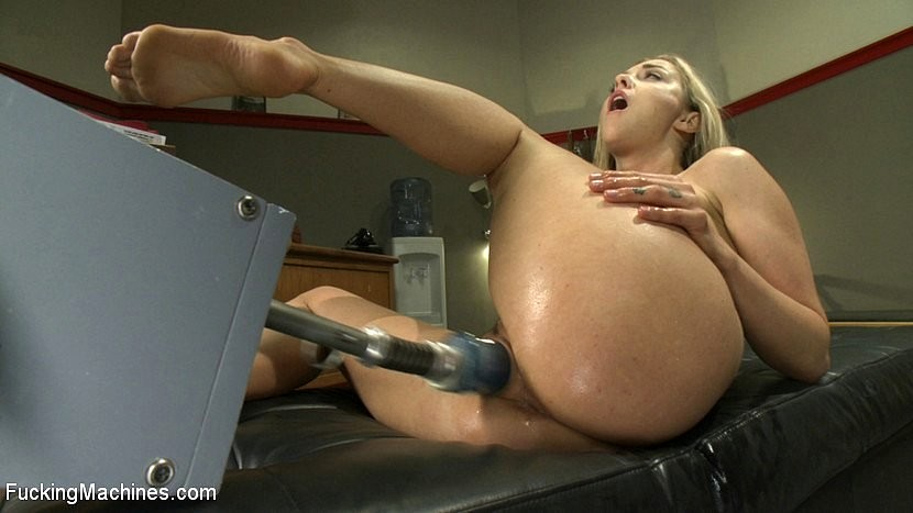 Very hot and horny blonde fucking hard pounding cock machines to ecstasy