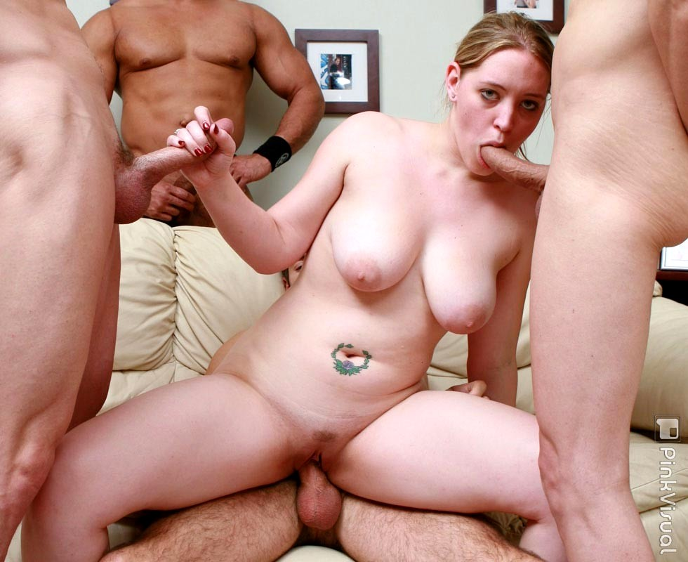 Watch huge tits slut getting fucked by two guys