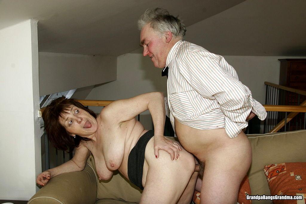 Mature couple fucks old man