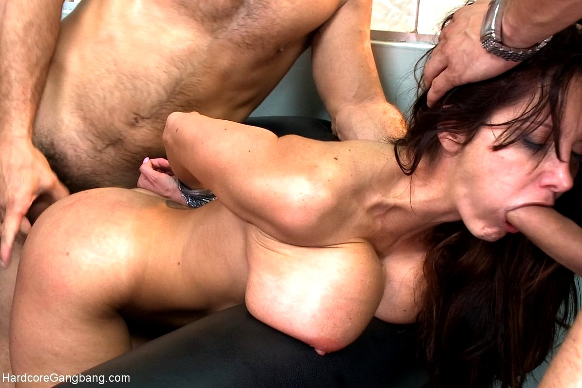 Big tits whore gets rough gangbang action