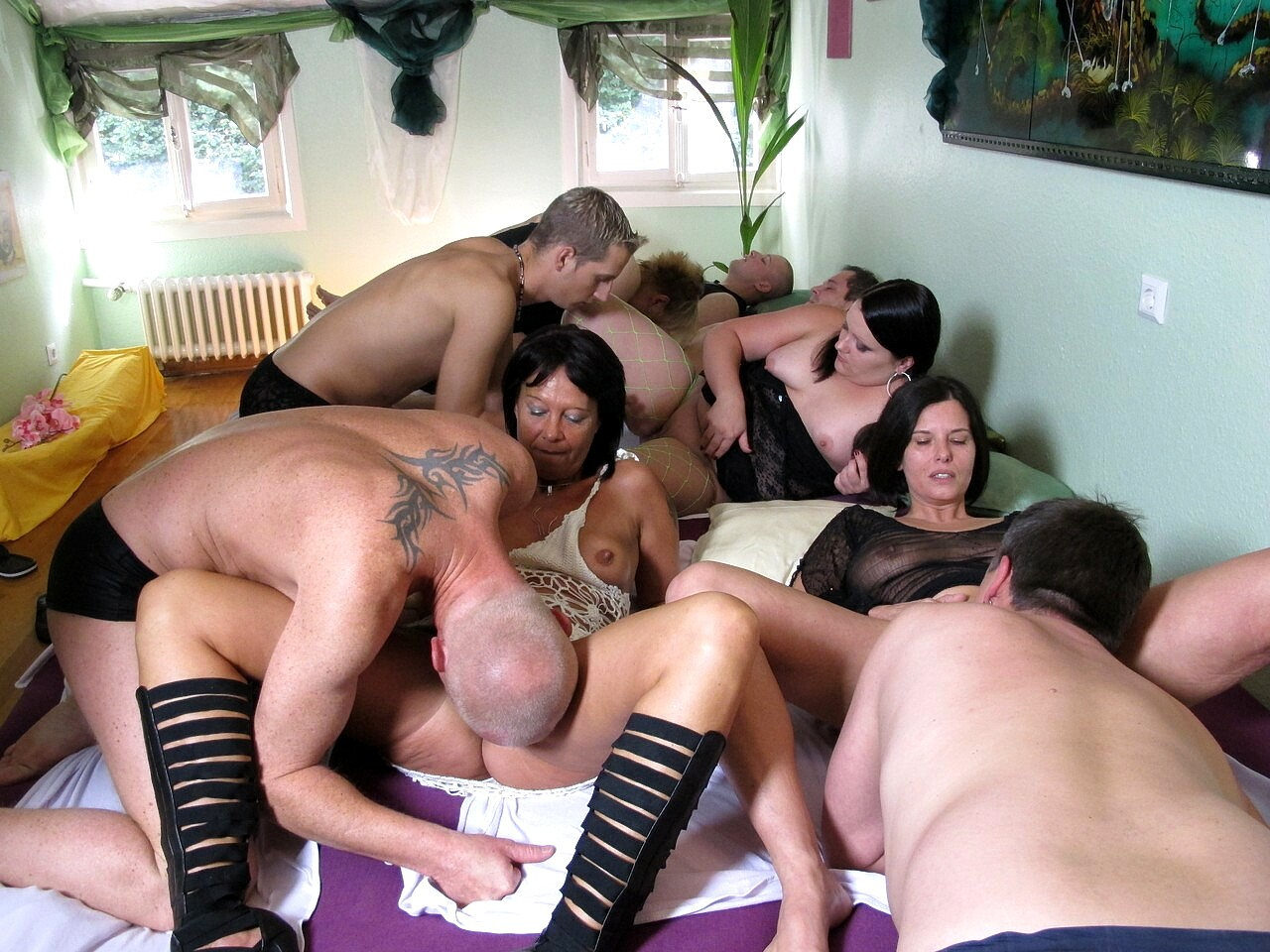 German group sex in the darkness