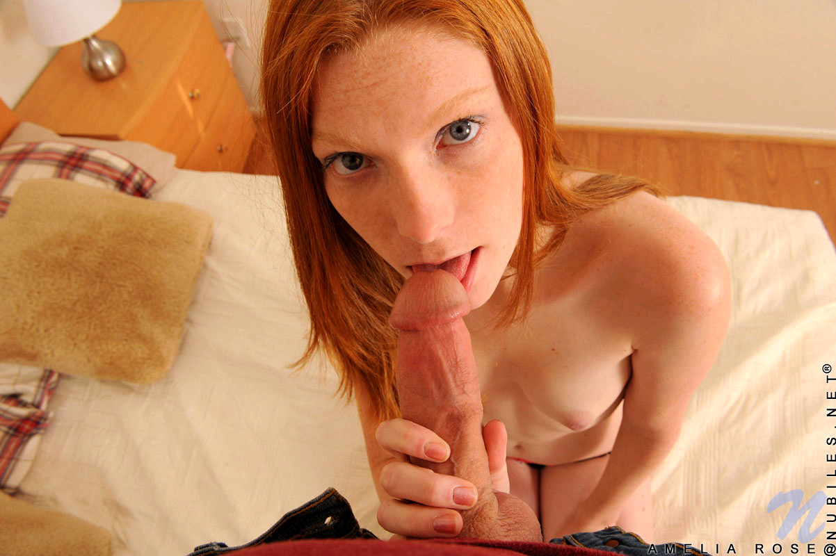 Curly Haired Red Head Blowjob