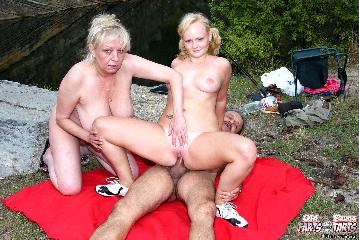 Older couple sex outdoors