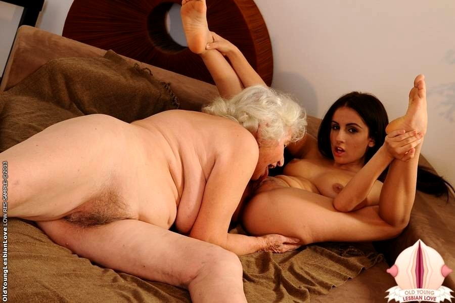 Young girl licking granny pussy
