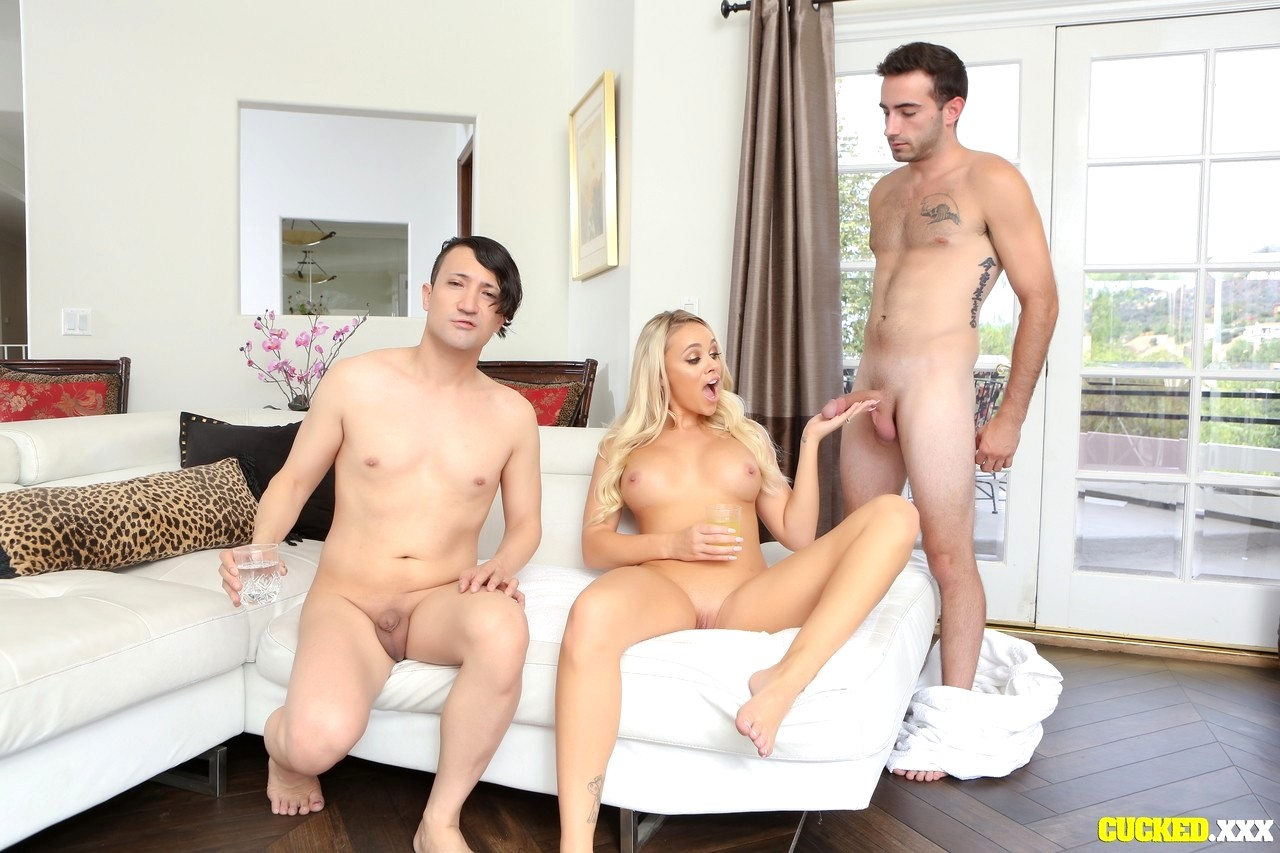 Addison rides cock while friend watches