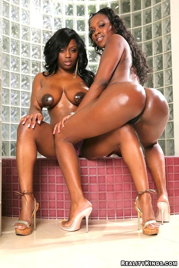 Busty ebony threesome