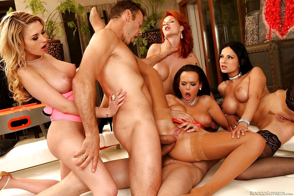 Three hot horny college girls invite some guys over for an orgy porn pics