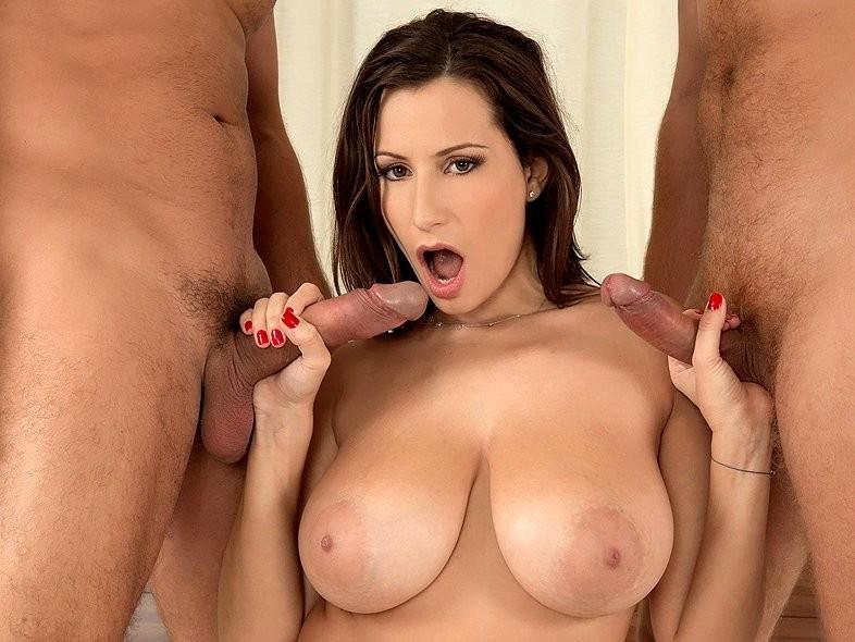 Busty girlfriend wants two cock p