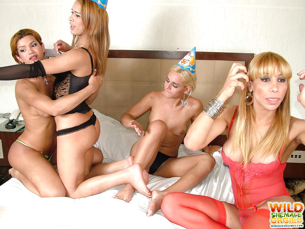 Group sex with hot shemale whore on jolly party