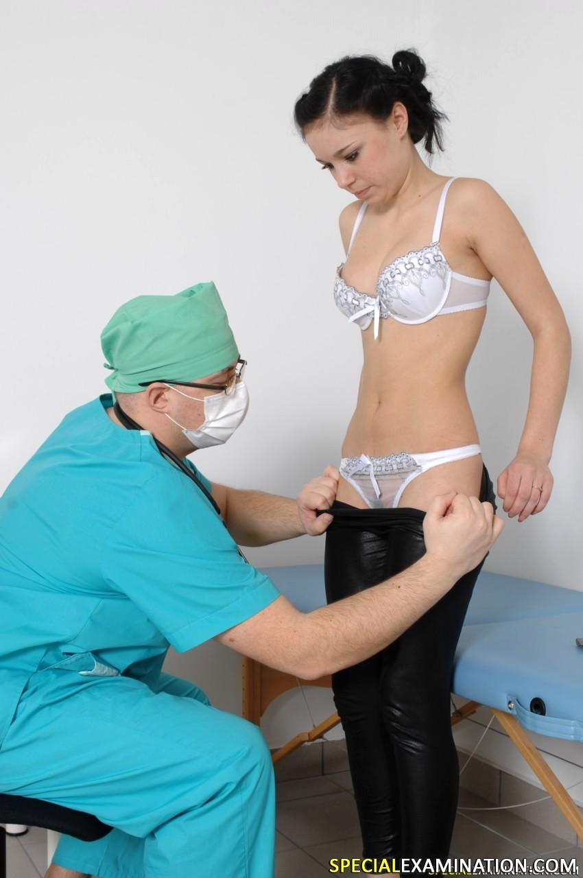 Young cfnm doctors exam male patient and control his cock 8