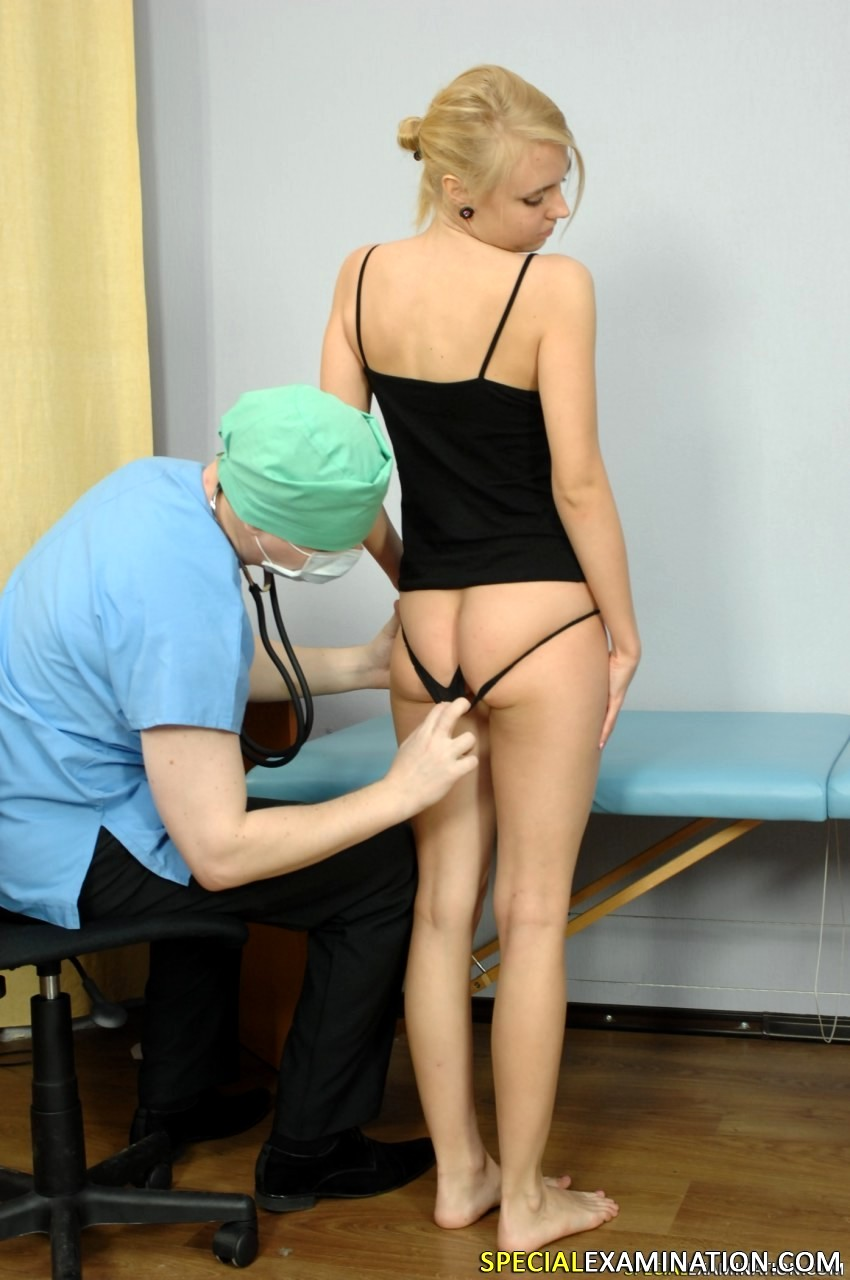 A special gyno exam for skinny brunette girl
