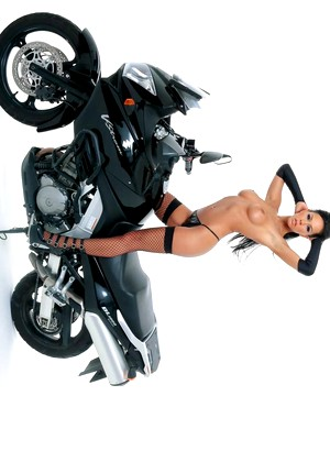 Sexy Milf Laly Vallade Fucks On Motorcycle In Fishnet Stockings And Pink Dino 1